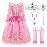 ReliBeauty Disfraz del Traje de la Princesa Aurora Ropa Rosa Partido Vestuario del La Bella Durmiente Vestido de Tul con la Lentejuela y el Ornamento de Oro niña,8 años (140),con...