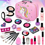 Juego de maquillaje infantil de unicornio, 27 piezas, lavable, seguro, cosmético, no tóxico, juego de maquillaje con juguetes para niñas pequeñas, princesas, Navidad, cumpleaños,...