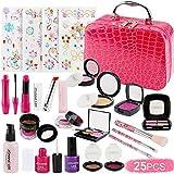 FancyWhoop Maquillaje Niñas Set 25 Piezas Set de Maquillaje con 4 Pegatinas de Joyas cosmético Lavable Maquillaje de Juguete para niñas Maquillaje niñas 3 años (Rojo)