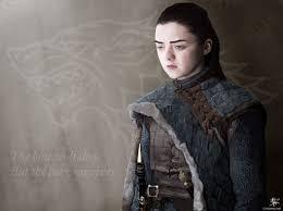 Arya Stark y logo casa Stark